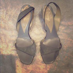 BCBG Max Azria baby blue suede sandals
